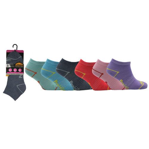 Ladies ProHike 3 pack Trainer Socks Coloured