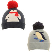 Kids Bobble Hat With Pom Pom Penguin/Polar Bear