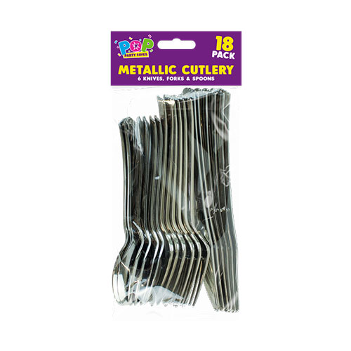 Party Metallic Cutlery 18 Pack