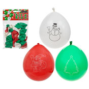 10 Inch Christmas Balloons With Printed Designs