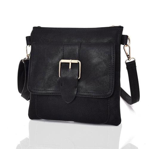Zane Square Buckle Crossbody Bag Black
