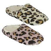 Ladies Plush Mule Leopard Slippers