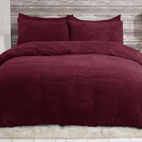 Cosy & Soft Teddy Duvet Set Wine
