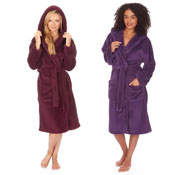 Ladies Snuggle Hooded Dressing Gown