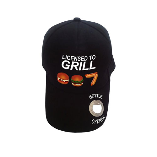 Baseball Cap with Bottle Opener Licensed to Grill