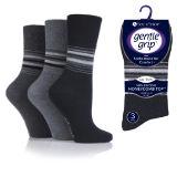 Ladies Gentle Grip Socks Stripes Monochrome