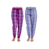 Ladies Cuff Leg Check Lounge Pants