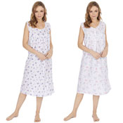 Ladies Sleeveless Woven Flower Design Nightie