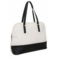 Ladies Contrast Tote Shopper Bag White - Black