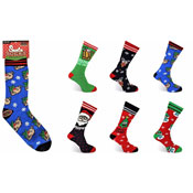 Mens Heat Machine Christmas Santa Slipper Socks Novelty
