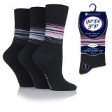 Ladies Gentle Grip Socks Stripe Black