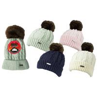 Ladies Heat Machine Pom Pom Hat Chunky Knit