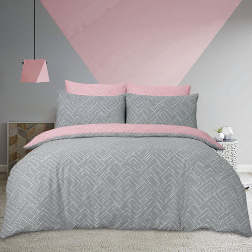 Square Dots Geo Pink Duvet Set