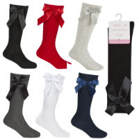 Girls Bow Cable Knee High Socks