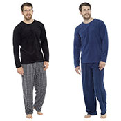 Mens Fleece Check Pyjama Set