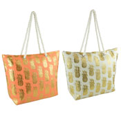 Paper Straw Gold Pineapple Foil Print Beach Bag