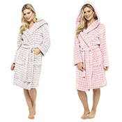 Ladies Flannel Soft Fleece Dressing Gown Heart Embossed