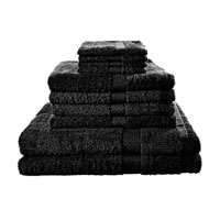 10 Piece Luxury Towel Bale Set With Ribbon Black
