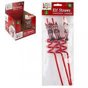 Reusable Christmas Elf Design Crazy Straw