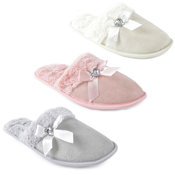 Ladies Plush Trim Mule With Diamante Slippers