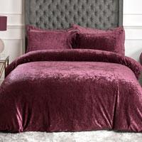 Luxury Crushed Velvet Duvet Set Plum