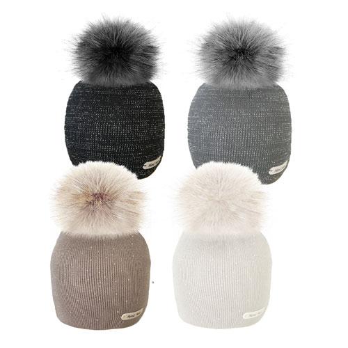 Ladies Beanie Hat With Faux Fur Pom Pom