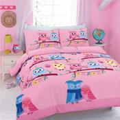 Cute Owls Pink Duvet Set