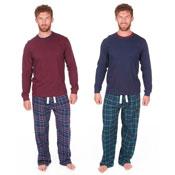 Mens Brushed Pyjamas Check & Plain