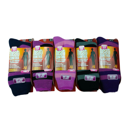 Ladies Heat Control Brushed Thermal Socks Stripes
