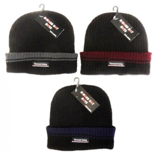 Boys Ribbed Beanie Hat With Coloured Lining