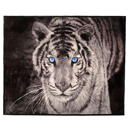 Faux Mink Animal Blanket White Tiger