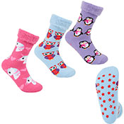 Ladies Supersoft Bed Socks With Grippers Animal Prints