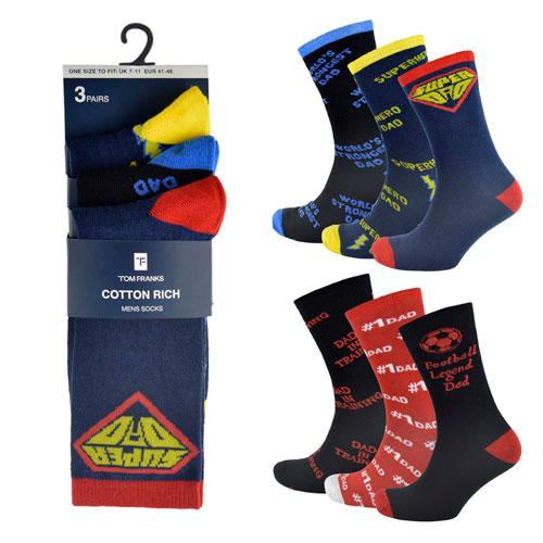 Mens Dad Socks 3 Pair Pack