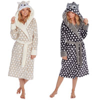 Ladies Novelty Spot Print Dressing Gown with Hood