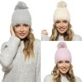 Ladies Soft Bobble Hat With Pom Pom