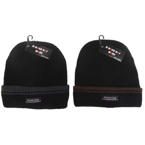 Mens Heavy Ribbed Hat With Lining Carton Price