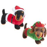 30cm Sausage Dog In Christmas Costume Soft Toy