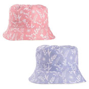 Ladies Flower Silhouette Print Bush Hat