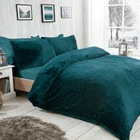 Cosy & Soft Waffle Fleece Duvet Set Emerald Green