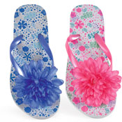 Girls Floral Print With Flower Detail Flip Flops