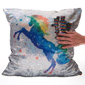 Rainbow Unicorn Sequin Filled Cushion