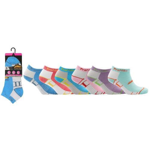 Ladies ProHike 3 Pack Trainer Socks Coloured Top