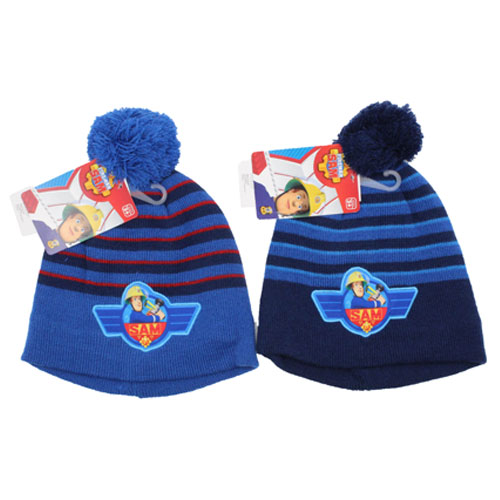 Official Boys Fireman Sam Knitted Hat With Pom Pom