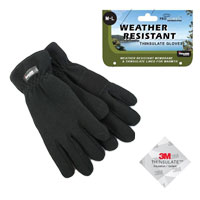 Mens Weather Resistant Fleece Gloves with Thinsulate Lining