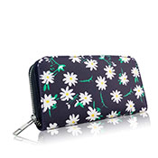Daisy Flower Print Long Purse Navy Blue