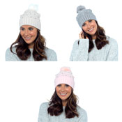 Ladies Turn Up Bobble Hat with Diamante Studs