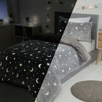 Moon And Stars Glow In The Dark Fleece Duvet Set