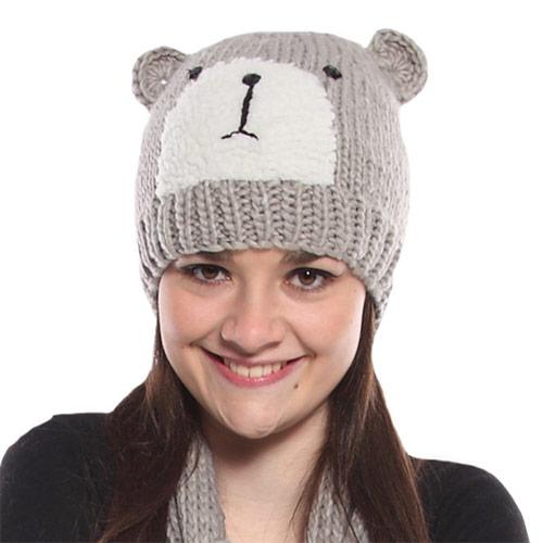 Ladies Knitted Hat Bear Print