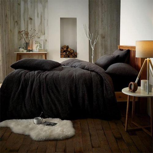 Super Soft Teddy Feel Duvet Set Black