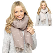Ladies Star Print Reversible Scarf Biege/Ivory